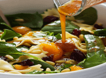 Mandarin Bowtie Pasta Spinach Salad Teriyaki Dressing